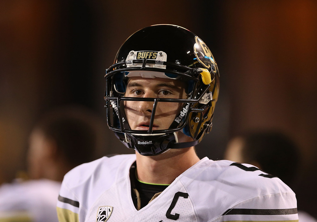 . TEMPE, AZ - OCTOBER 12:  Quarterback Connor Wood #5 of the Colorado Buffaloes watches from the sidelines during the college football game against the Arizona State Sun Devils at Sun Devil Stadium on October 12, 2013 in Tempe, Arizona.  (Photo by Christian Petersen/Getty Images)
