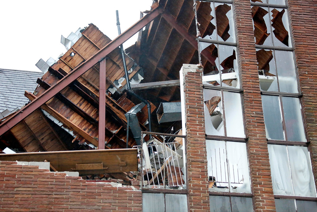 . Monday morning shows the destruction Sunday\'s tornado caused to the Westminster Presbyterian Church in Hattiesburg, Miss., Feb. 11, 2013. (AP Photo/Rogelio V. Solis)
