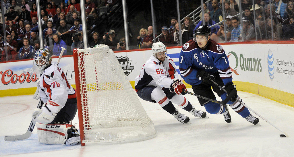 . Colorado Avalanche forward John Mitchell (7) sakes behind the net defended by the Washington Capitals\' Mike Green and goalie Braden Holtby in the third period. T  (Photo By Patrick Traylor/The Denver Post)