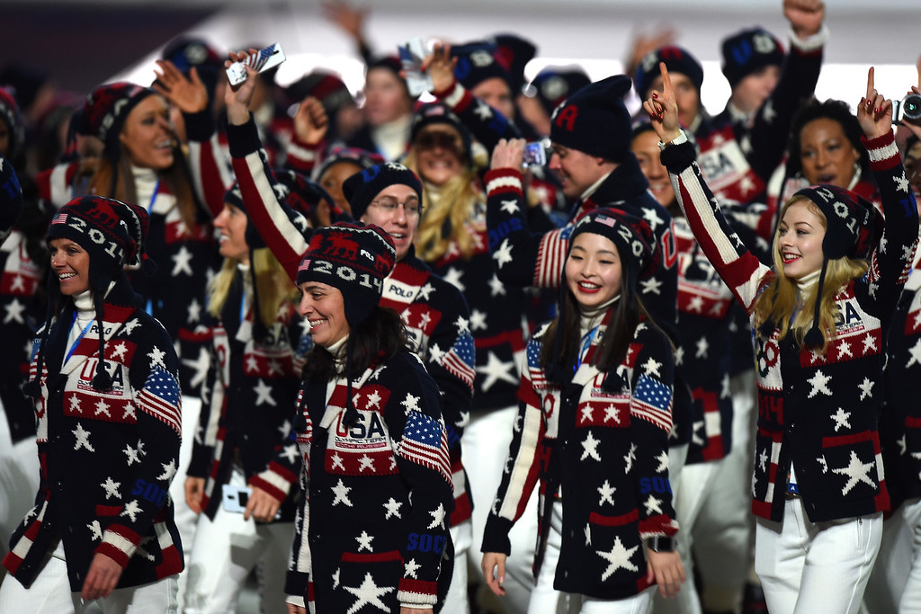 . Figure skaters Maia Shibutani and Gracie Gold of the United States walk with their team during the Opening Ceremony of the Sochi 2014 Winter Olympics at Fisht Olympic Stadium on February 7, 2014 in Sochi, Russia.  (Photo by Pascal Le Segretain/Getty Images)