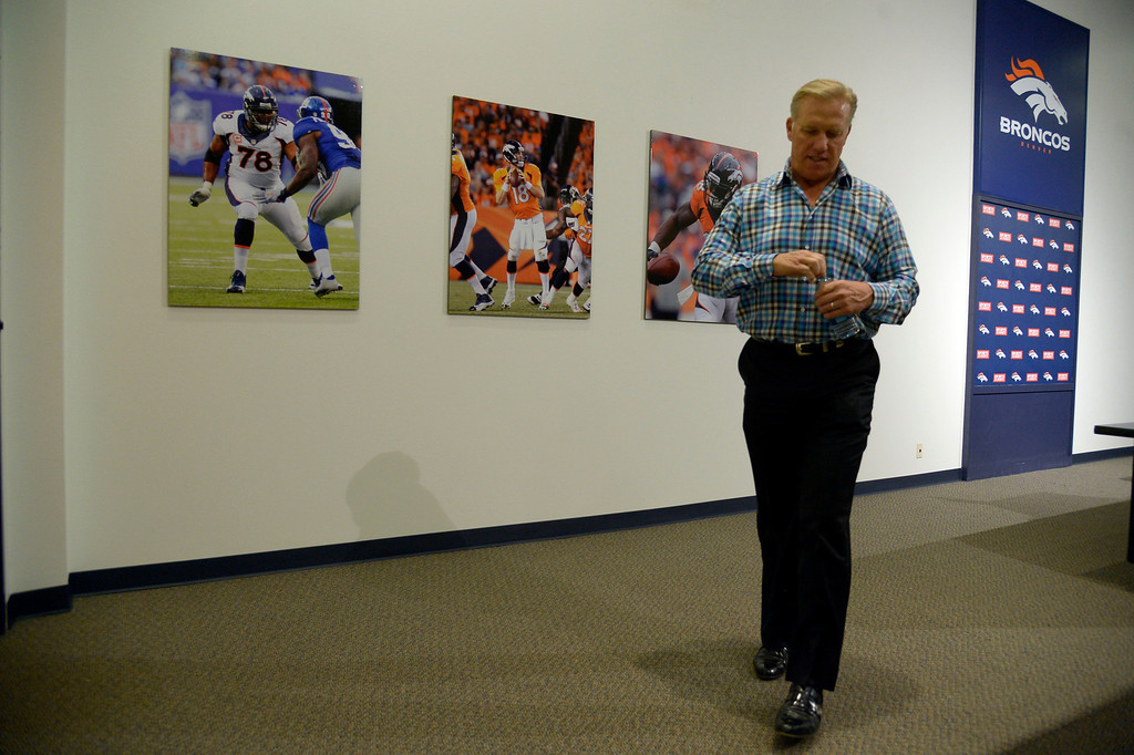 . Broncos General Manager and Executive Vice President of Football Operations John Elway discusses the draft May 5, 2014 at Dove Valley (Photo by John Leyba/The Denver Post)