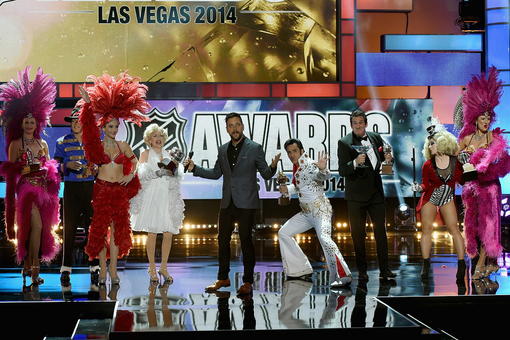 . Canadian television and radio personality George Stroumboulopoulos on stage during the 2014 NHL Awards at the Encore Theater at Wynn Las Vegas on June 24, 2014 in Las Vegas, Nevada.  (Photo by Ethan Miller/Getty Images)