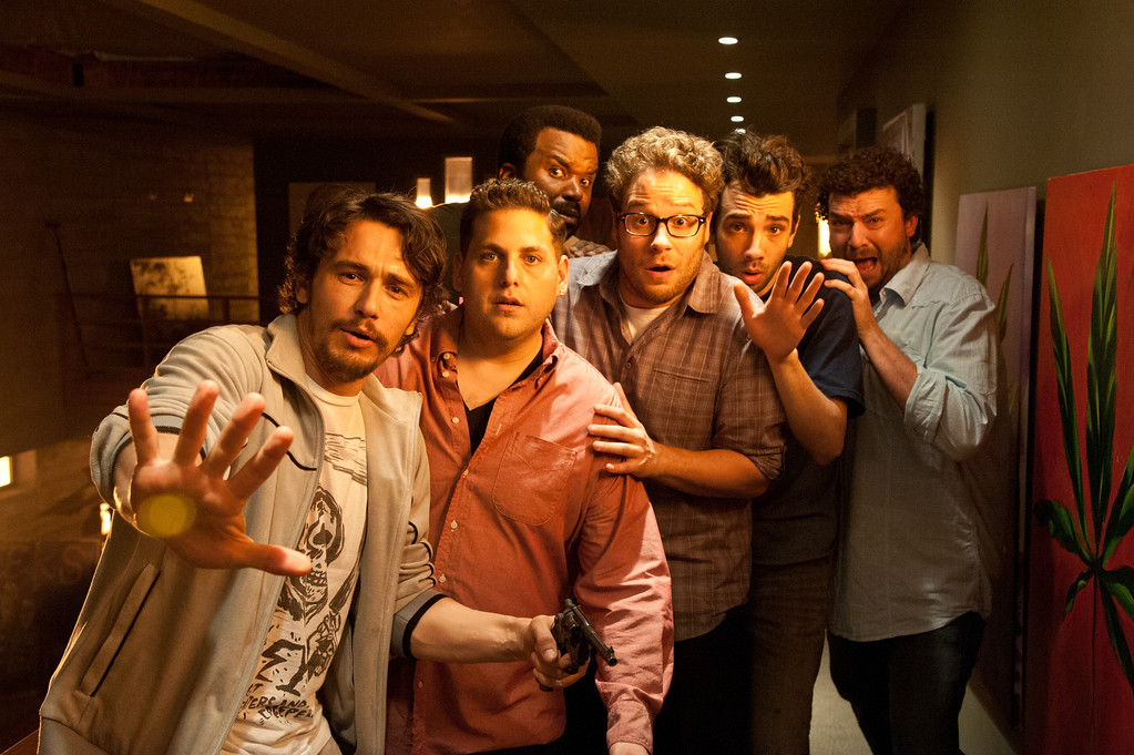 ". L-r, James Franco, Jonah Hill, Craig Robinson, Seth Rogen, Jay Baruchel and Danny McBride star in Columbia Pictures\' ""This Is the End.\"""