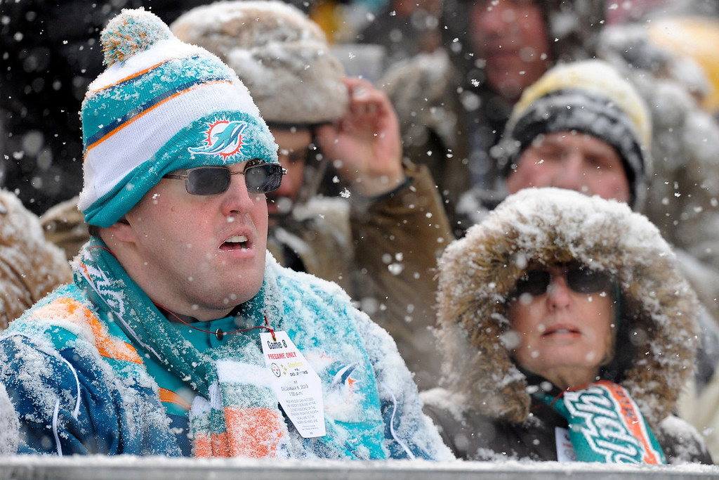. Miami Dolphins fans watch an NFL football game between the Pittsburgh Steelers and Miami Dolphins in a snow storm at Heinz Field in Pittsburgh, Sunday, Dec. 8, 2013. (AP Photo/Don Wright)