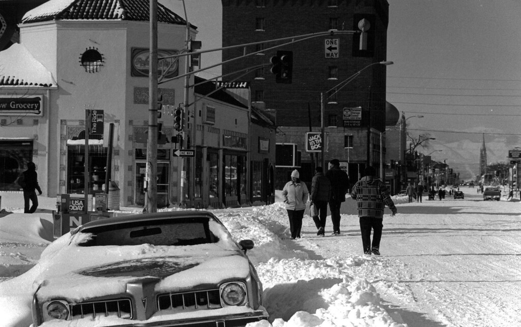 . People walking down Colfax after the Blizzard of \'82. Denver Post Library Archive