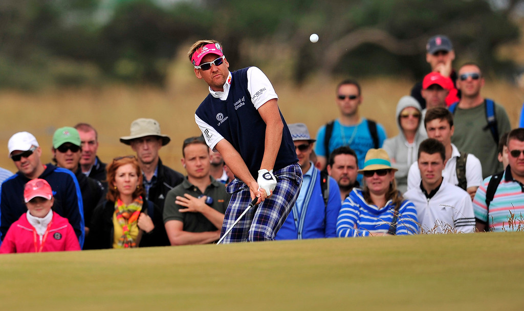 . England\'s Ian Poulter chips onto the 16th green during the fourth and final round of the 2013 British Open Golf Championship at Muirfield golf course at Gullane in Scotland on July 21, 2013.     GLYN KIRK/AFP/Getty Images
