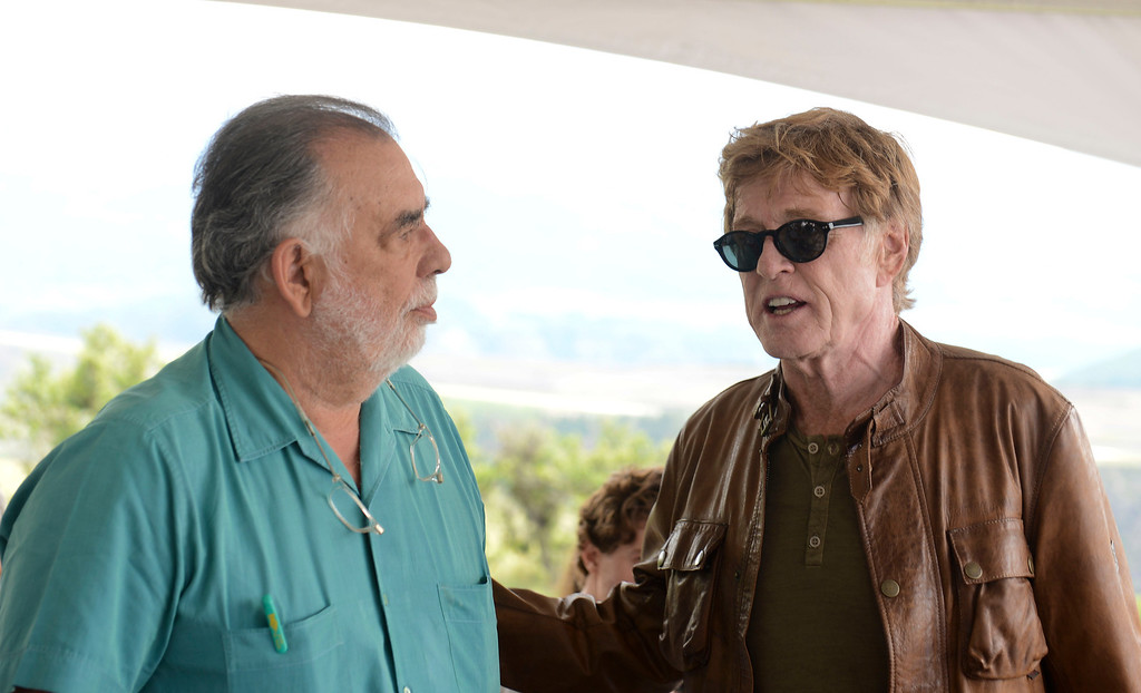 """. Francis Ford Coppola, left, and Robert Redford, Telluride tribute honoree and star of \""""All Is Lost.\"""" Photo Vivien Killilea, Providec by Telluride Film Festival"""