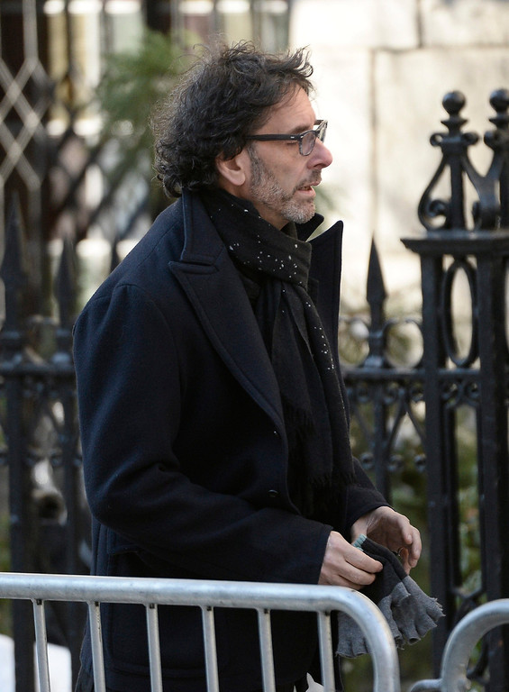. US director Joel Coen arrives for the Funeral Mass for US Actor Phillip Seymour Hoffman at St Ignatius Church in New York, New York, USA 07 February 2014. Hoffman, 46, died 02 February from a suspected drug overdose.  EPA/ANDREW GOMBERT