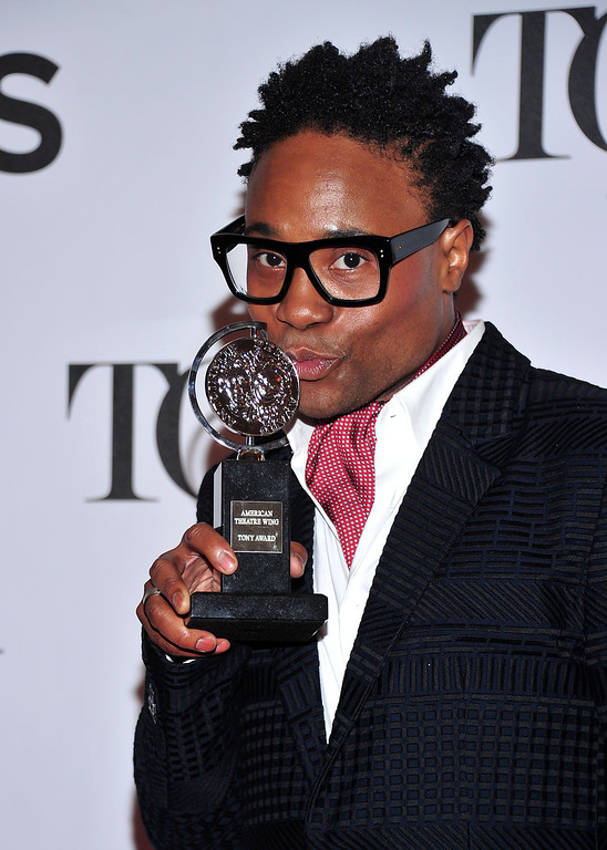 ". Billy Porter poses with his award for best actor in a musical for ""Kinky Boots\"" in the press room at the 67th Annual Tony Awards, on Sunday, June 9, 2013 in New York.  (Photo by Charles Sykes/Invision/AP)"