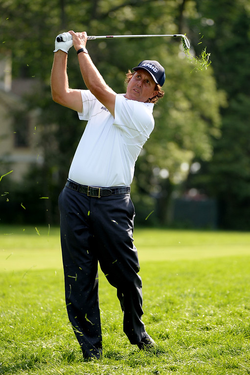 . Phil Mickelson of the United States hits his second shot on the seventh hole during Round Three of the 113th U.S. Open at Merion Golf Club on June 15, 2013 in Ardmore, Pennsylvania.  (Photo by Ross Kinnaird/Getty Images)