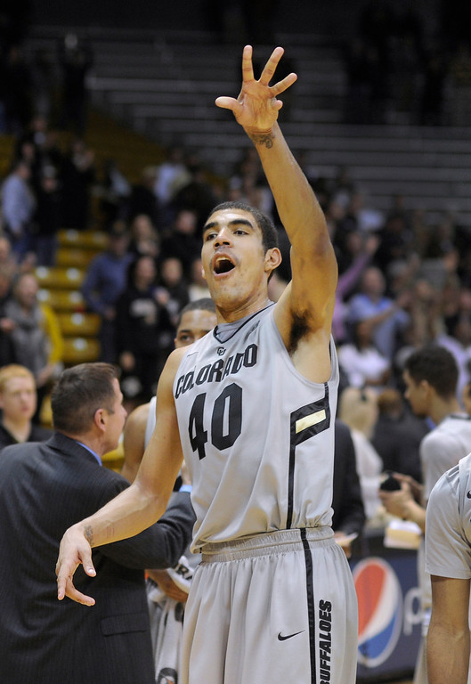 . BOULDER, CO. - MARCH 7: Buffs center Josh Scott celebrated the win Thursday. The University of Colorado men\'s basketball team defeated Oregon 76-53 Thursday night, March 7, 2013 at the CU Events Center in Boulder. (Photo By Karl Gehring/The Denver Post)