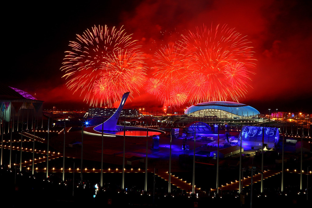 . Fireworks explode over Olympic Park during the 2014 Sochi Winter Olympics Closing Ceremony on February 23, 2014 in Sochi, Russia.  (Photo by Al Bello/Getty Images)