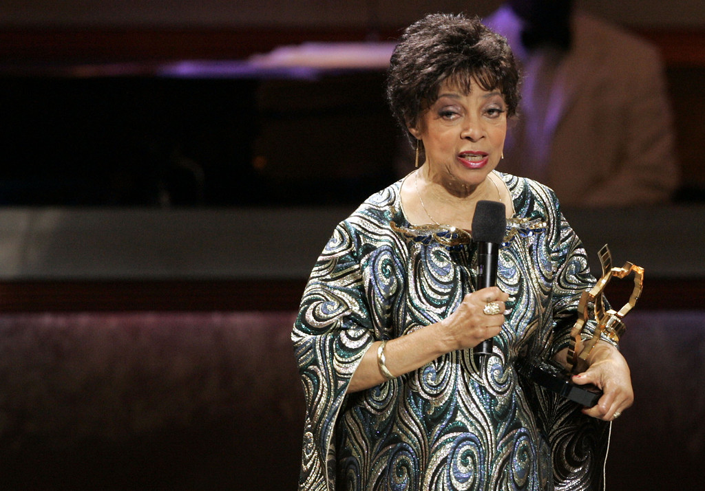 . Actress Ruby Dee accepts an award on behalf of  her late husband, actor Ossie Davis, at the 2005 Film Life Black Movie Awards in Los Angeles on Sunday, Oct. 9, 2005. (AP Photo/Matt Sayles)