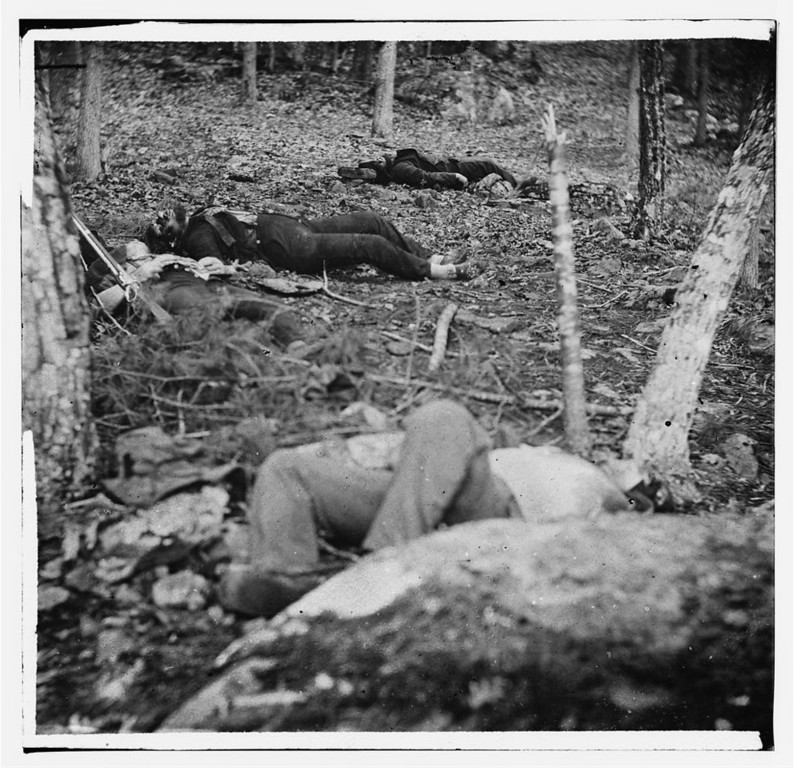 . Gettysburg, Pa. Four dead soldiers in the woods near Little Round Top  - Library of Congress Prints and Photographs Division Washington, D.C.