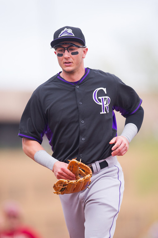 . Troy Tulowitzki #2 of the Colorado Rockies looks on during a spring training game against the Arizona Diamondbacks at Salt River Fields at Talking Stick on February 28, 2014 in Scottsdale, Arizona. (Photo by Rob Tringali/Getty Images)