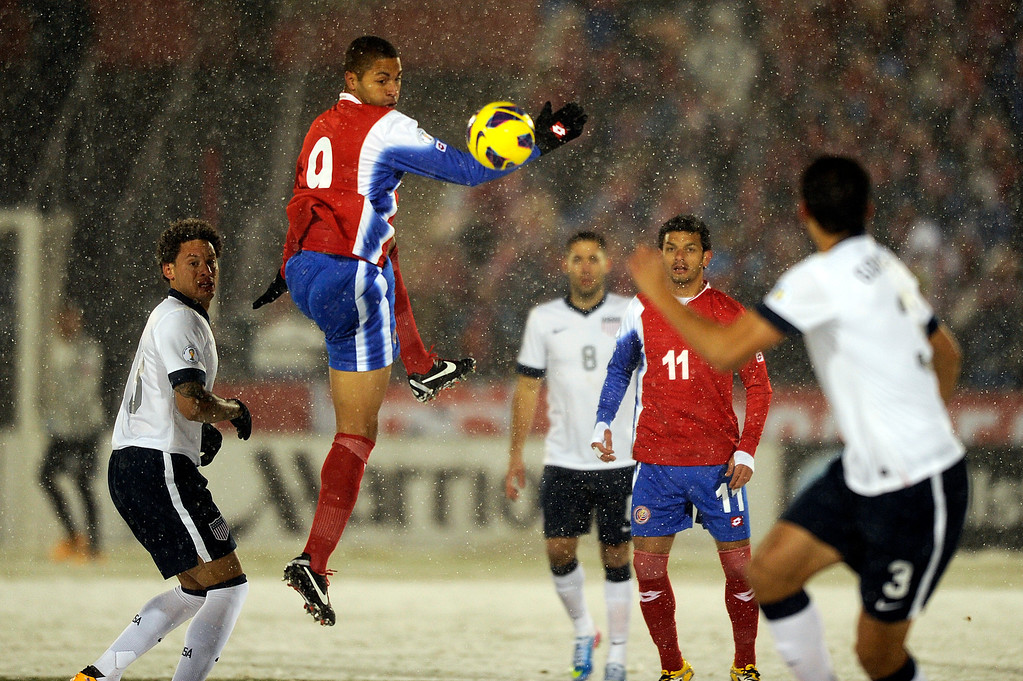 . COMMERCE CITY, CO - MARCH 22: Costa Rica forward Alvaro Saborio (9), center, jumps to head the ball during a FIFA 2014 World Cup Qualifier game at Dick\'s Sporting Goods Park on March 22, 2013, in Commerce City, Colorado. The United States won 1-0. (Photo by Daniel Petty/The Denver Post)