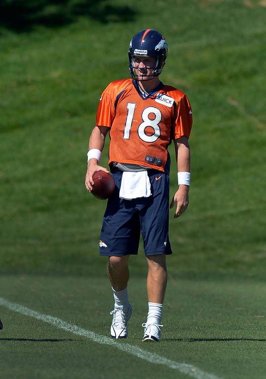 . Denver Broncos quarterback Peyton Manning (18) gets ready for drills during practice  September 3, 2013 at Dove Valley. (Photo by John Leyba/The Denver Post)