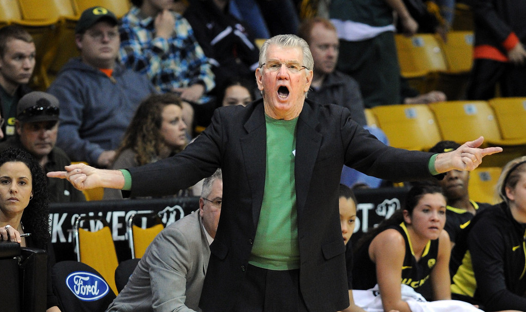 . Oregon Coach Paul Westhead coached the Denver Nuggets in the 1990\'s. For more photos of the game, go to www.dailycamera.com. Cliff Grassmick / February 10, 2013