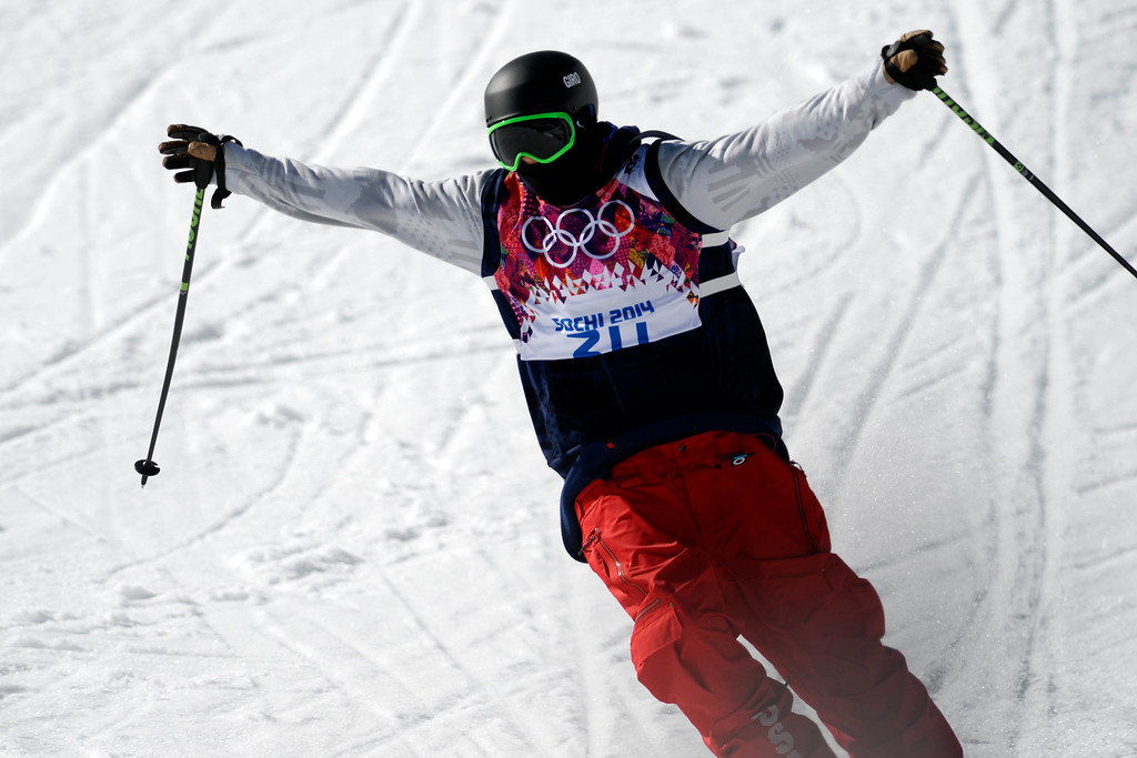 . Gold medalist Joss Christensen reacts after his final run during the men\'s ski slopestyle final at the Rosa Khutor Extreme Park. Sochi 2014 Winter Olympics on Thursday, February 13, 2014. (Photo by AAron Ontiveroz/The Denver Post)