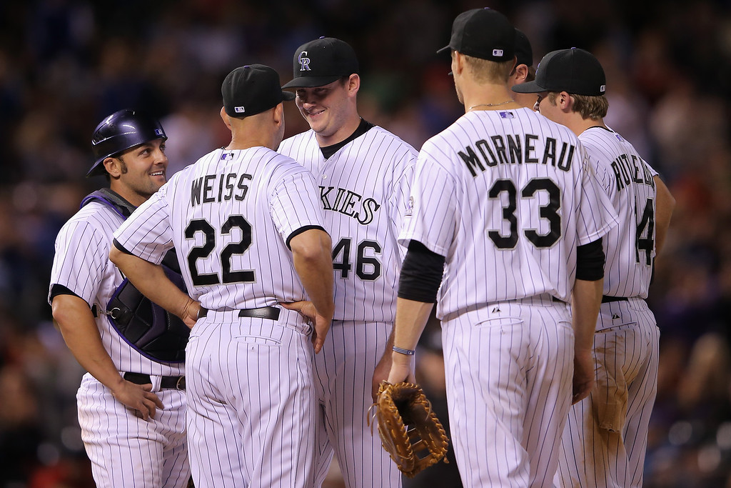 . Starting pitcher Tyler Matzek #46 of the Colorado Rockies smiles as he is removed from the game by manager Walt Weiss #22 of the Colorado Rockies in the eighth inning against the Atlanta Braves as he makes his Major League debut at Coors Field on June 11, 2014 in Denver, Colorado. Matzek gave up two runs on five hits, singled and scored a run as he earned the win in his Major League debut as the Rockies defeated the Braves 8-2. (Photo by Doug Pensinger/Getty Images)