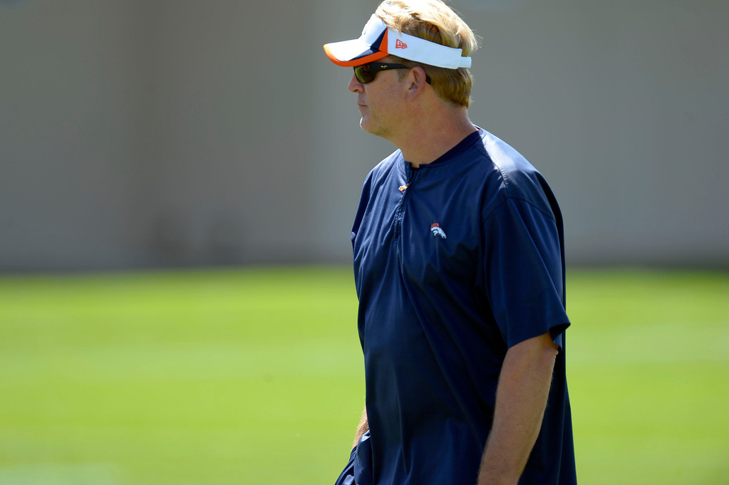 . Denver Broncos defensive coordinator Jack Del Rio looks on during training camp August 5, 2013 at Dove Valley. (Photo By John Leyba/The Denver Post)