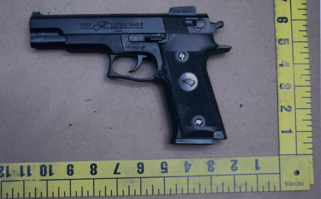 . An evidence photo showing a Colt pistol is among several new evidence photos of the June 9 shooting rampage by John Zawahri that were released by the Santa Monica, Calif.,  Police Department at a news conference Thursday, June 13, 2013. (AP Photo/Reed Saxon)