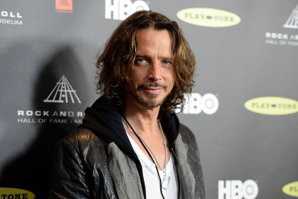 . Singer Chris Cornell arrives at the 28th Annual Rock and Roll Hall of Fame Induction Ceremony at Nokia Theatre L.A. Live on April 18, 2013 in Los Angeles, California.  (Photo by Jason Merritt/Getty Images)