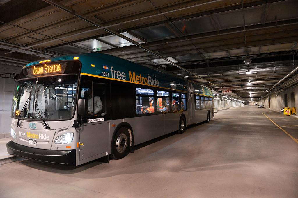 . DENVER, CO. - APRIL 25: The new RTD Free MetroRide bus on display in the Underground Bus Concourse at the RTD Union Station Transit Center Train Hall area Friday morning, April 25, 2014. This free bus service, which begins May 12, 2014, originates from Union Station, heads east up 19th Ave to Broadway, turns at 16th to Lincoln and then heads back to the station with various stops throughout before making it\'s way back to the Union State Transit Center. (Photo By Andy Cross / The Denver Post)