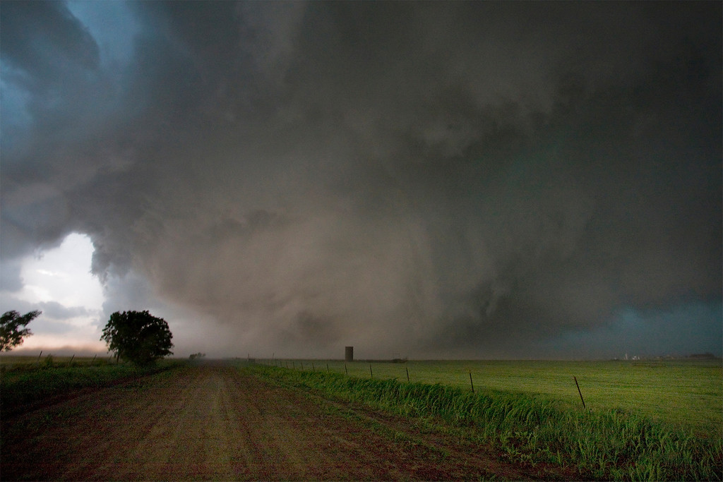 . Storm chaser Dan Robinson photographed the El Reno, Oklahoma  tornado,  as it crossed Reuter Road on May 31, 2013, looking back to the west just moments after he escaped its powerful force. (Photo by Dan Robinson, Rival Imaging http://www.rivalimaging.com)