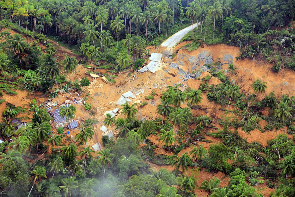 . This handout photo taken on October 16, 2013 and released on October 17 by Philipine Air Force (PAF) shows an aerial shot of a destroyed road in Sagbayan, Bohol province, central Philippines, after a 7.1 earthquake hit the tourist island destination on October 15. AFP PHOTO /PAF HO/AFP/Getty Images