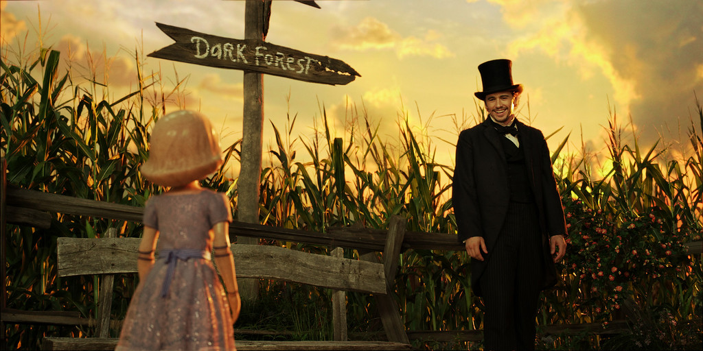 """. \""""OZ: THE GREAT AND POWERFUL\"""" China Girl (voiced by Joey King), left; James Franco, right ©Disney Enterprises, Inc. All Rights Reserved."""