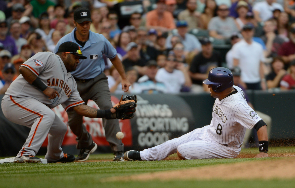 . DENVER, CO - JUNE 27: Colorado Rockies catcher, Yorvit Torrealba reaches third safely in the second inning at Coors Field Saturday afternoon, June 29, 2013  as San Francisco Giants third baseman, Pablo Sandoval mishandles the incoming throw.  (Photo By Andy Cross/The Denver Post)