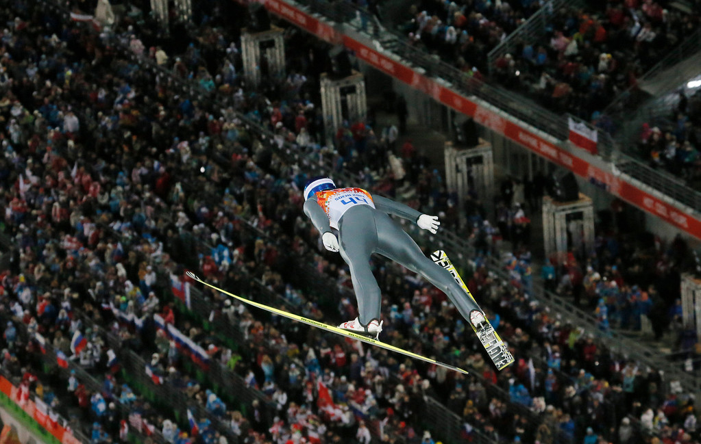 . Norway\'s Anders Bardal makes his first attempt during the men\'s normal hill ski jumping final at the 2014 Winter Olympics, Sunday, Feb. 9, 2014, in Krasnaya Polyana, Russia. (AP Photo/Dmitry Lovetsky)