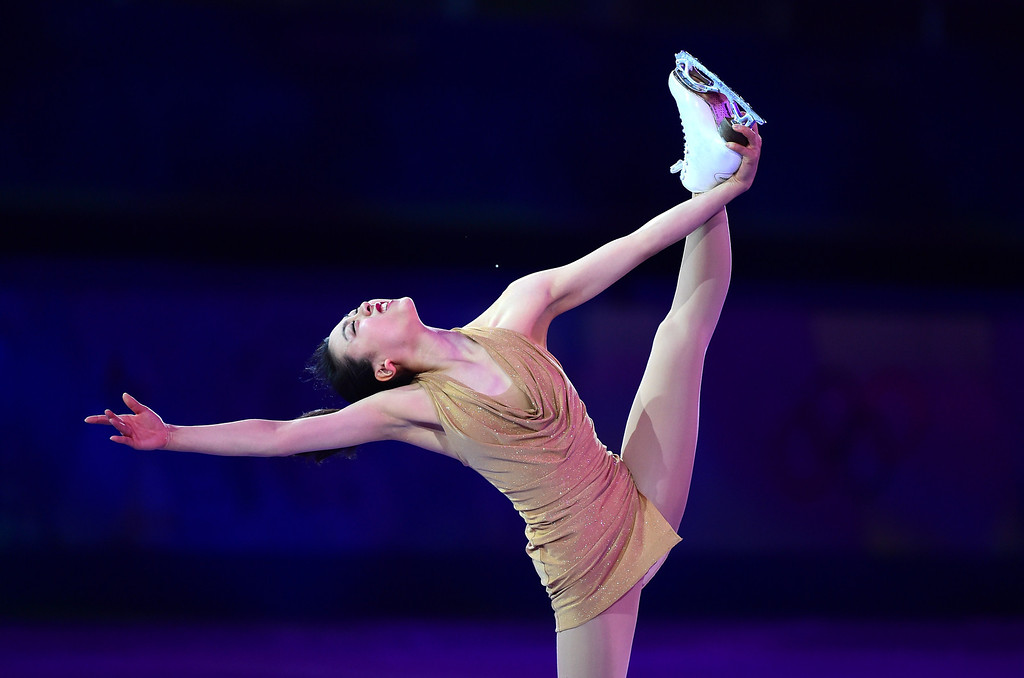 . Japan\'s  Mao Asada performs at the Figure Skating Exhibition Gala at the Iceberg Skating Palace during the Sochi Winter Olympics on February 22, 2014. JOHN MACDOUGALL/AFP/Getty Images