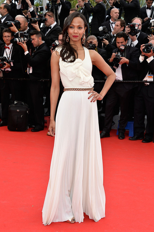 """. Actress Zoe Saldana attends the Opening ceremony and the \""""Grace of Monaco\"""" Premiere during the 67th Annual Cannes Film Festival on May 14, 2014 in Cannes, France.  (Photo by Pascal Le Segretain/Getty Images)"""