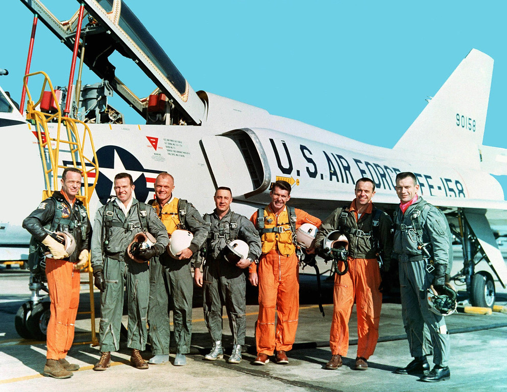 ". The original seven Mercury astronauts are shown during training at NASA Langley Research Center in March 1961 in their flight suits. From left, Lt. M. Scott Carpenter, Capt.  Gordon Cooper, Col. John H. Glenn Jr., Capt. Virgil ""Gus\"" Grissom, Lt.  Comdr. Walter Schirra, Lt. Comdr. Alan B. Shepard Jr. and Capt. Donald  K. \""Deke\"" Slayton.  (AP Photo/Nasa)"
