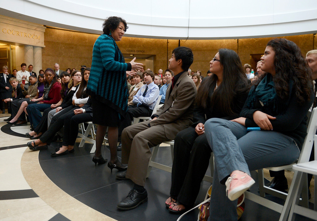 . DENVER, CO-May 02, 2013: Supreme Court Justice Sonia Sotomayor visited with students during a celebration to dedicate the new Ralph L. Carr Colorado Judicial Center in Denver, May 02, 2013. (Photo By RJ Sangosti/The Denver Post)