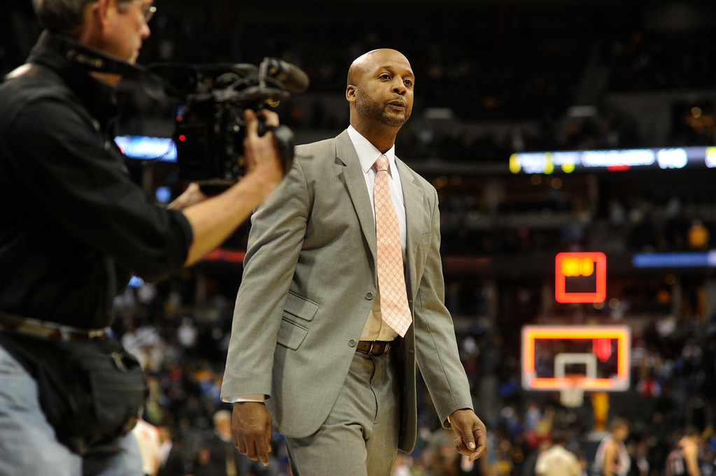 . DENVER, CO. - NOVEMBER 1:  Denver coach Brian Shaw walked off the court at the end of the game. The Denver Nuggets were defeated by the Portland Trail Blazers 113-98 Friday night, November 1, 2013 at the Pepsi Center.  The Nuggets are winless after two games. Photo By Karl Gehring/The Denver Post