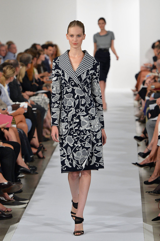 . A model walks the runway at the Oscar De La Renta fashion show during Mercedes-Benz Fashion Week Spring 2014 on September 10, 2013 in New York City.  (Photo by Slaven Vlasic/Getty Images)