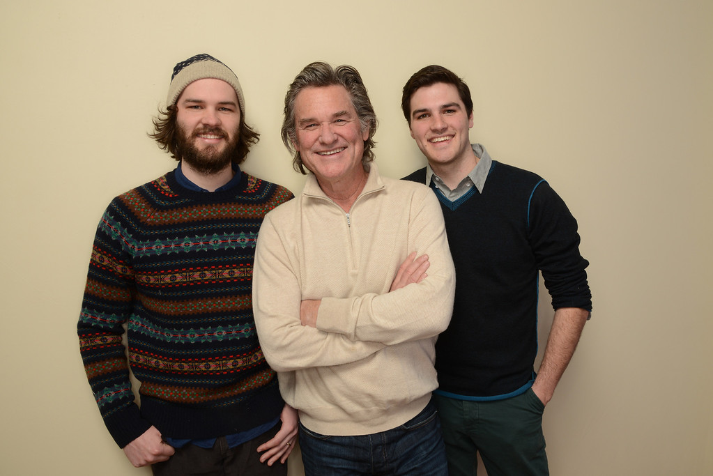 . (L-R) Filmmaker Chapman Way, actor Kurt Russell, and filmmaker Maclain Way pose for a portrait during the 2014 Sundance Film Festival at the WireImage Portrait Studio at the Village At The Lift on January 20, 2014 in Park City, Utah.  (Photo by Larry Busacca/Getty Images)