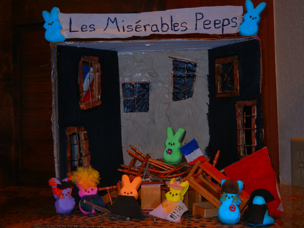 . Name of Piece: Les Miserables Peeps. Group Names: Katherine Roy and Elisabeth Roy, Ages: 18 and 16