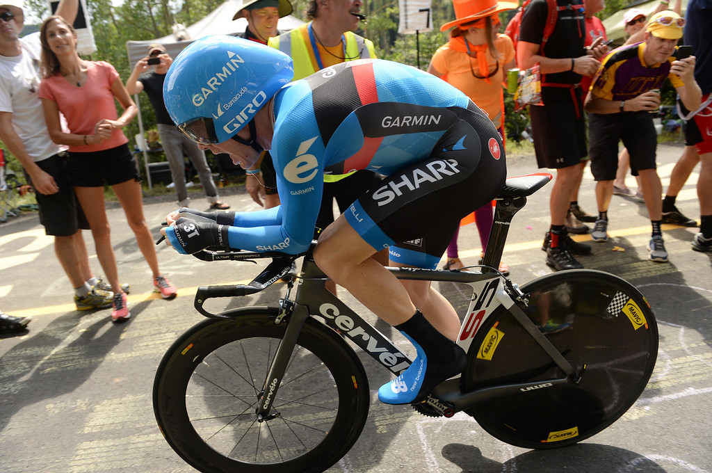 . Christian Vandevelde of team Garmin-Sharp is climbing Vail pass during the 10-mile Individual Time Trial of 2013 USA Pro Challenge, August 23, 2013. (Photo by Hyoung Chang/The Denver Post)