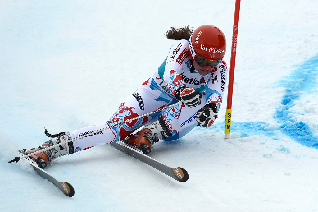 . Anemone Marmottan of France speeds down the course in the first run during the women\'s Giant Slalom race at the FIS Alpine Skiing World Cup finals, in Parpan-Lenzerheide, Switzerland, 16 March 2014.  EPA/PETER SCHNEIDER