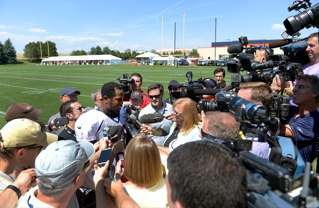. Denver Broncos outside linebacker Von Miller (58) talks with the media after practice August 20, 2013 at Dove Valley. The discipline of the Broncos\' star linebacker are expected to continue Tuesday.(Photo by John Leyba/The Denver Post)