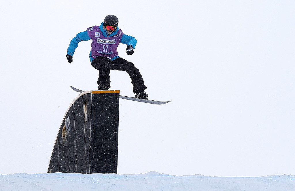 . Breanna Stangeland of Canada competes during qualifying for the women\'s FIS Snowboard Slopestyle World Cup at U.S. Snowboarding and Freeskiing Grand Prix on December 20, 2013 in Copper Mountain, Colorado.  (Photo by Mike Ehrmann/Getty Images)