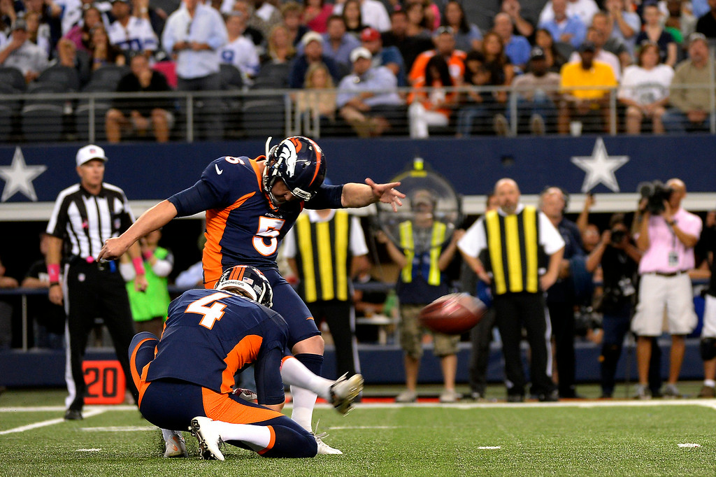 . Kicker Matt Prater nails the winning field goal for a 51-48 win against the Cowboys at AT&T Stadium on October 6, 2013. Joe Amon/The Denver Post)