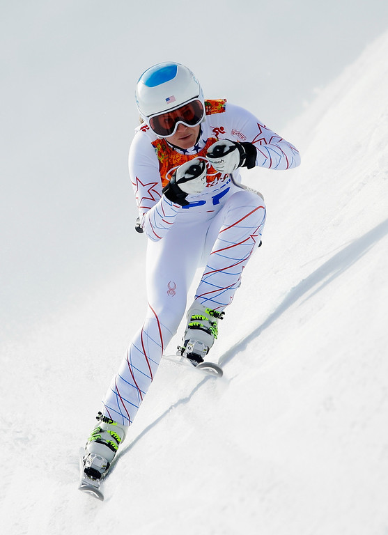 . Julia Mancuso of the United States in action during the Alpine Skiing Women\'s Super Combined Downhill on day 3 of the Sochi 2014 Winter Olympics at Rosa Khutor Alpine Center on February 10, 2014 in Sochi, Russia.  (Photo by Ezra Shaw/Getty Images)