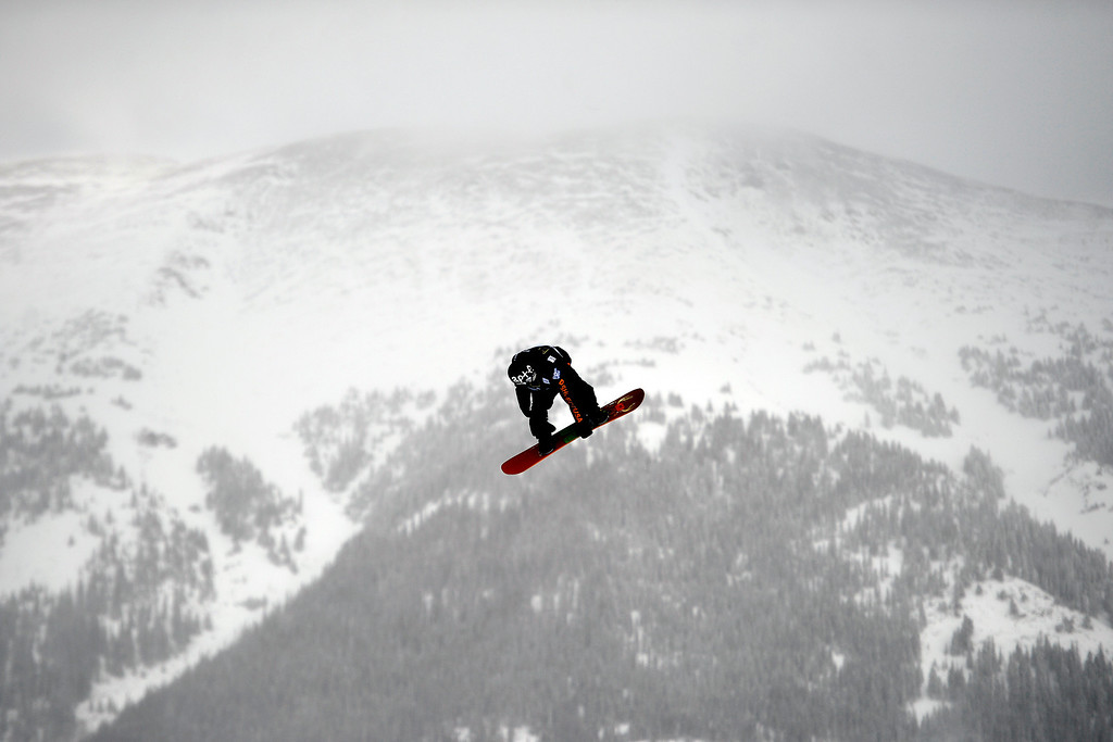 . Mans Hedberg rides during the slopestyle finals of the Copper Mountain Grand Prix.   (Photo by AAron Ontiveroz/The Denver Post)