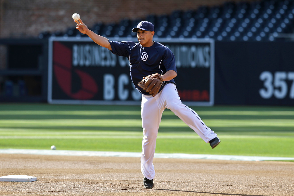 . San Diego Padres shortstop Everth Cabrera works on his double play move during pregame warm ups for a baseball game against the Colorado Rockies, Friday, April 12, 2013, in San Diego. (AP photo/Lenny Ignelzi)