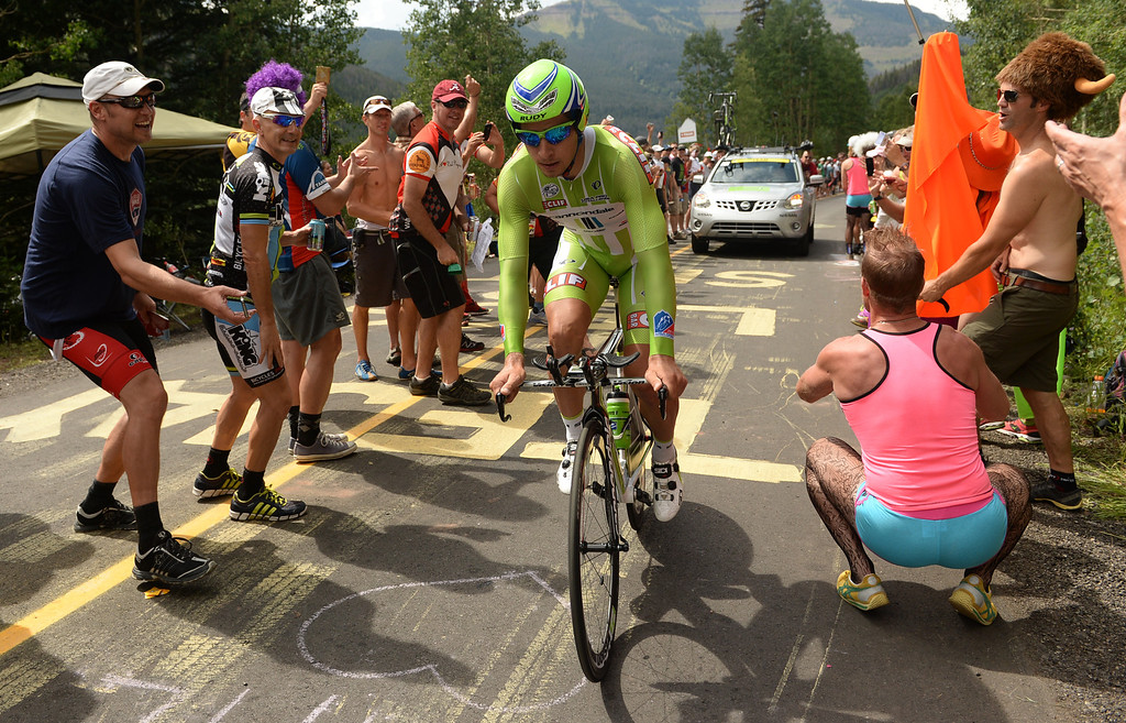 . Peter Sagan of Cannondale Pro Cycling Team is climbing Vail pass during the 10-mile Individual Time Trial of 2013 USA Pro Challenge, August 23, 2013. (Photo by Hyoung Chang/The Denver Post)